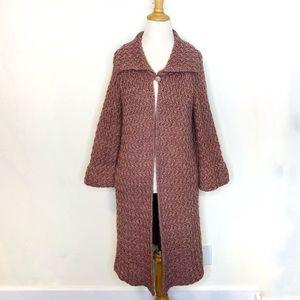 Zara Mauve Collared Crochet Knit Sweater Duster